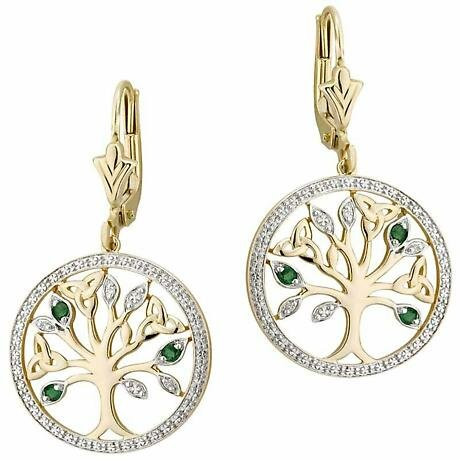 Irish Earrings - 14k Gold with Diamonds and Emerald Tree of Life Earrings