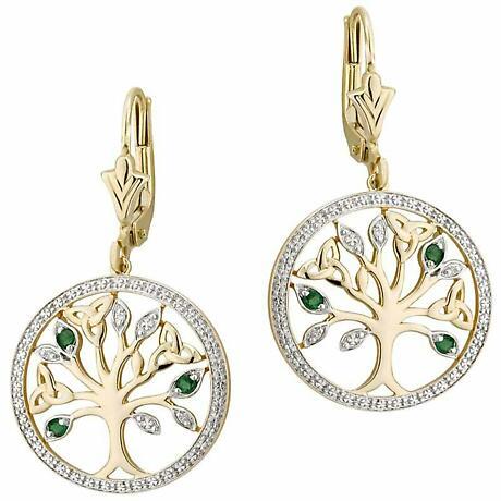 Irish Earrings - 14k Gold with Diamonds and Emerald Tree of Life Earrings