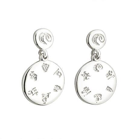 Irish Earrings - Sterling Silver History of Ireland Disc Earrings