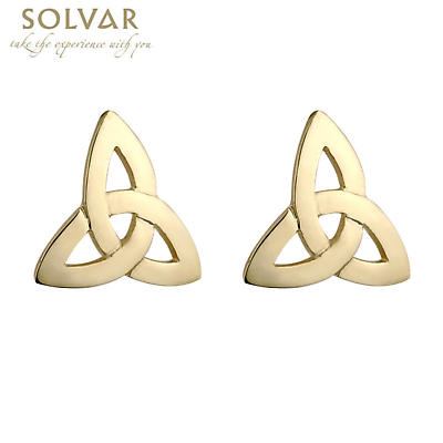 Celtic Earrings - 14k Yellow Gold Trinity Knot Stud Earrings