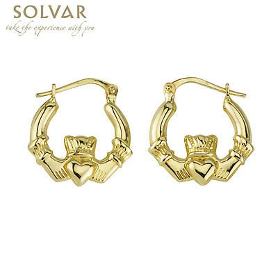 14k Yellow Gold Claddagh Hoop Earrings