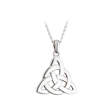 Celtic Pendant - Sterling Silver Triangular Celtic Knot Pendant with Chain