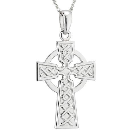 Celtic Pendant - 14k White Gold Celtic Cross with Chain