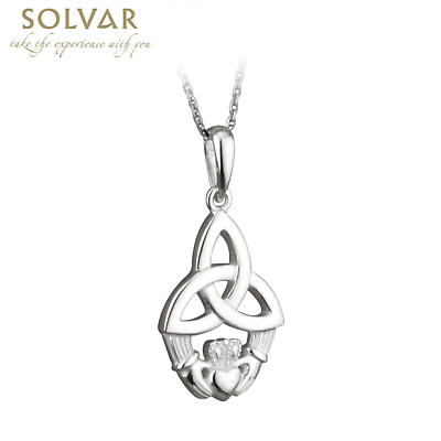 Celtic Pendant - Sterling Silver Trinity Knot and Claddagh Pendant with Chain