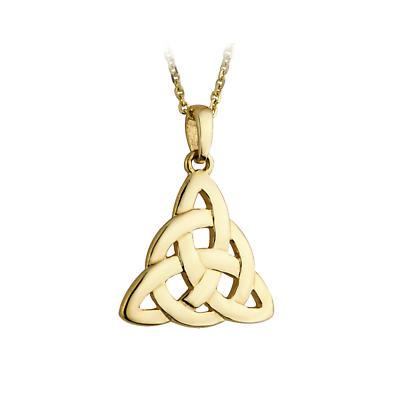 Celtic Pendant - Trinity Knot Circle 10k Yellow Gold Irish Necklace