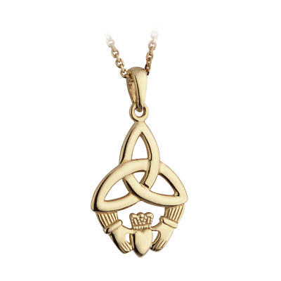 Irish Necklace - 10k Yellow Gold Trinity Knot and Claddagh Pendant with Chain