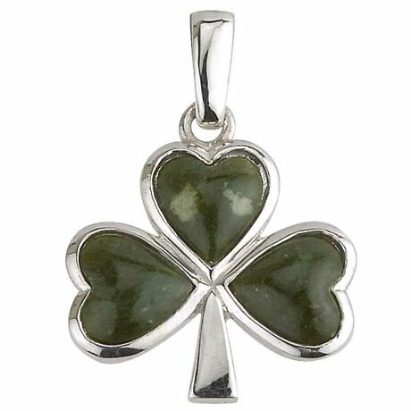 Irish Necklace - Sterling Silver and Connemara Marble Shamrock Pendant with Chain