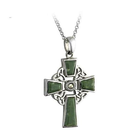 Celtic Pendant - Sterling Silver and Connemara Marble Celtic Cross Pendant with Chain