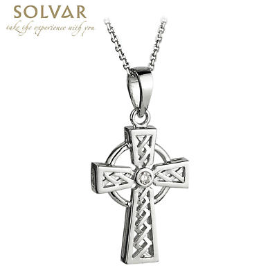 Celtic Pendant - 14k White Gold and Diamond Celtic Cross Pendant with Chain