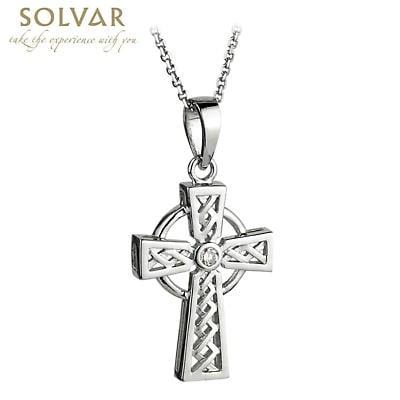 Celtic Pendant - 14k White Gold and Diamond Celtic Cross Pendant with Chain