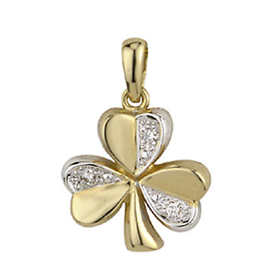 Irish Necklace - 14k Two Tone Gold Shamrock and Diamonds Pendant with Chain