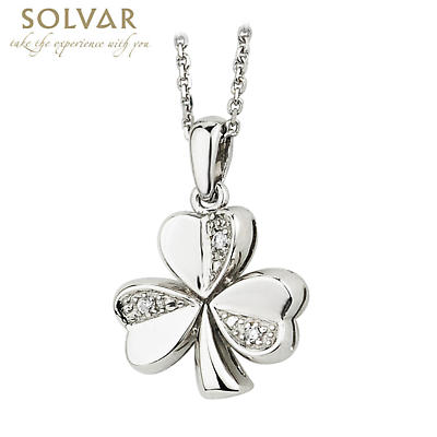 Irish Necklace - 14k White Gold and Diamond Shamrock Pendant with Chain