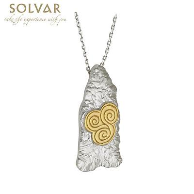 Celtic Pendant - Sterling Silver Two Tone Newgrange Celtic Spiral Pendant with Chain