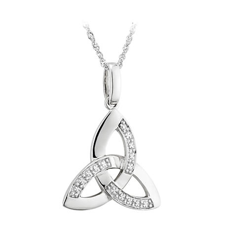 Celtic Necklace - 14k White Gold with Diamonds Trinity Knot Pendant