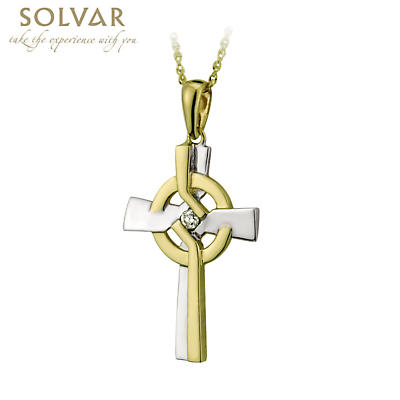 Celtic Pendant - 14k Two Tone Gold and Diamond Celtic Cross Pendant with Chain