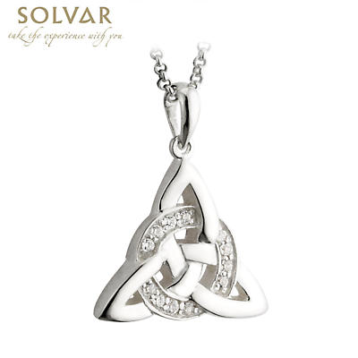 Celtic Pendant - Sterling Silver Celtic Trinity Knot Cubic Zirconia Pendant with Chain