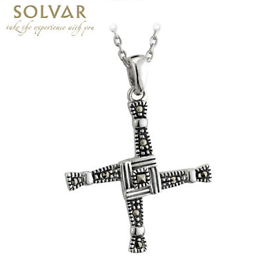 Irish Necklace - Sterling Silver Marcasite St Bridget's Cross Pendant with Chain