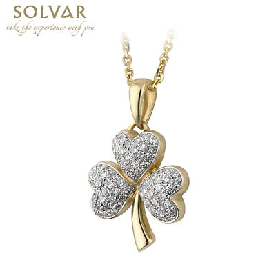 Irish Necklace - 14k Gold and Micro Diamond Shamrock Pendant with Chain