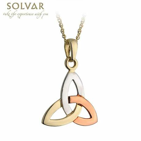 Celtic Pendant - 14k Gold Multi Color Trinity Knot Pendant with Chain