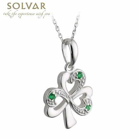Irish Necklace - Sterling Silver and Green Stone Shamrock Pendant with Chain
