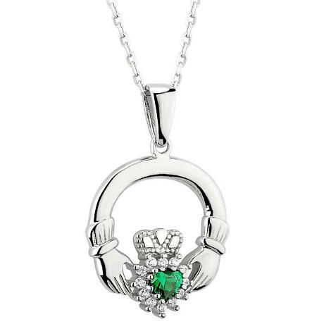 Irish Necklace - Sterling Silver with Green Agate and CZ Claddagh Pendant with Chain
