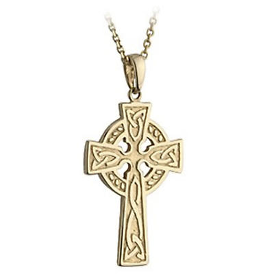 Celtic Pendant - 10k Gold Double Sided Celtic Cross Pendant with Chain
