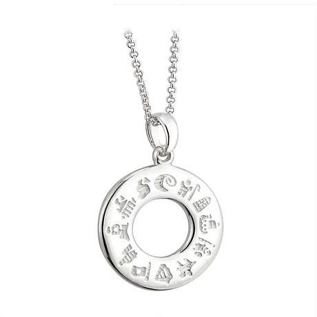Irish Necklace - History of Ireland Sterling Silver Circle Irish Pendant