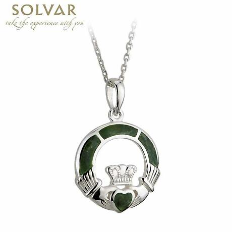 Irish Necklace - Sterling Silver and Connemara Marble Claddagh Pendant with Chain