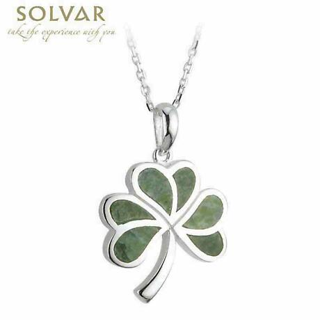 Irish Necklace - Sterling Silver Shamrock Connemara Marble Pendant