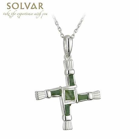 Irish Necklace - Sterling Silver Connemara Marble St. Bridget's Cross Pendant with Chain