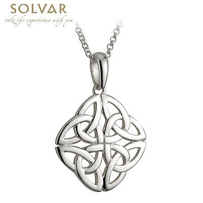 Celtic Pendant - Sterling Silver 4 Trinity Celtic Knot Pendant with Chain