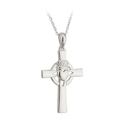 Irish Necklace - Sterling Silver Claddagh Cross Pendant with Chain