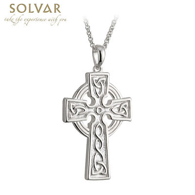 Celtic Pendant - Sterling Silver Large Double Side Cross Pendant with Chain