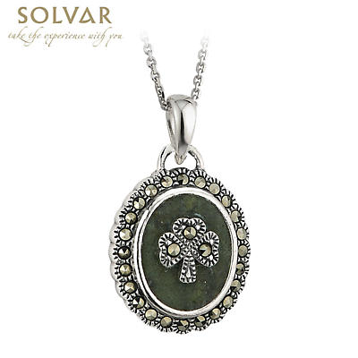 Irish Necklace - Sterling Silver Marcasite Shamrock Marble Pendant with Chain