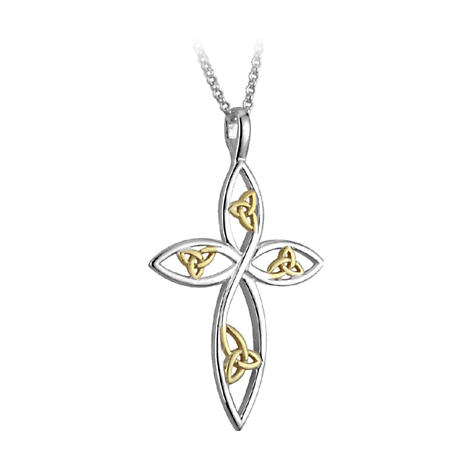 Irish Necklace - Trinity Knot Gold Plate & Rhodium Celtic Cross