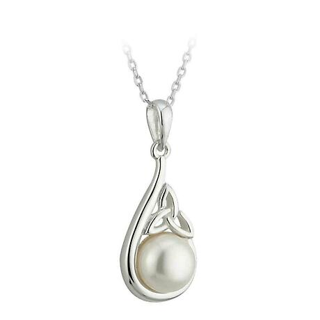 Irish Necklace - Sterling Silver and Half Pearl Trinity Knot Pendant with Chain