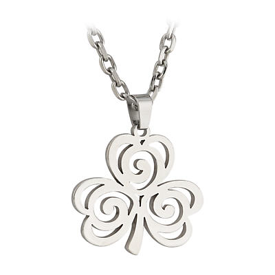 Irish Necklace - Stainless Steel Celtic Shamrock Pendant with Chain