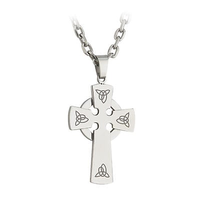 Celtic Pendant - Stainless Steel Engraved Cross Pendant with Chain