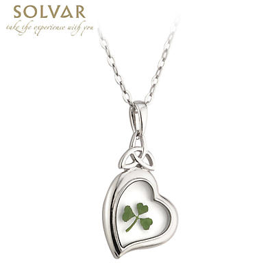 Irish Necklace - Real Shamrock Heart Pendant with Chain