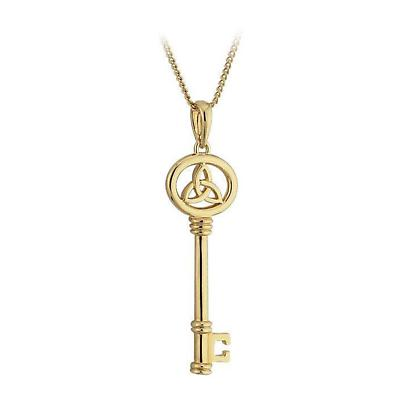 Irish Necklace - 18k Gold Plated Key Trinity Knot Pendant