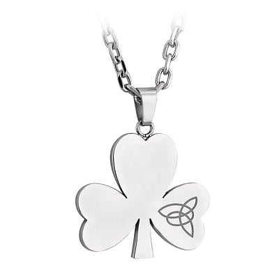 Irish Necklace - Stainless Steel Shamrock Pendant with Chain