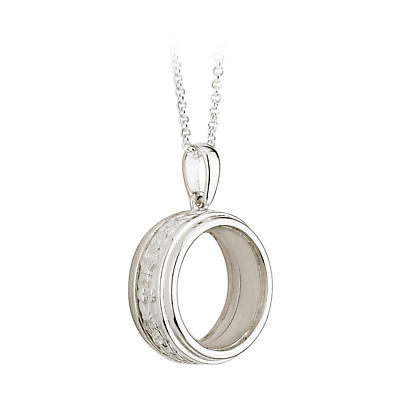 Irish Necklace - Sterling Silver Celebration Pendant with Chain - Claddagh