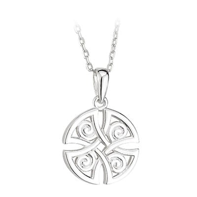 Celtic Pendant - Sterling Silver Round Celtic Pendant with Chain