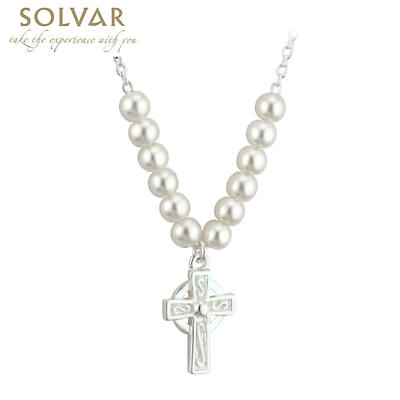Celtic Pendant - First Communion Celtic Cross Pearl Necklace