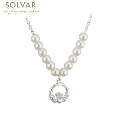 Irish Necklace - First Communion Claddagh Pearl Necklace