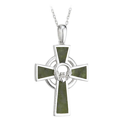 Celtic Pendant - Sterling Silver and Marble Claddagh Cross Pendant with Chain