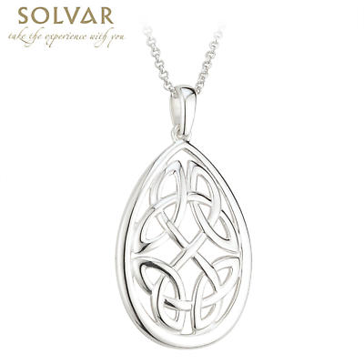 Celtic Pendant - Sterling Silver Oval Knot Pendant with Chain