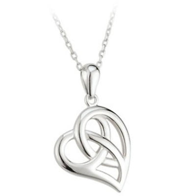 Celtic Pendant - Sterling Silver Celtic Heart Pendant with Chain