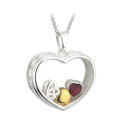 "Irish Necklace - Sterling Silver ""Valentine's Heart"" Aura Pendant with Chain"
