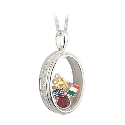 "Irish Necklace - Sterling Silver ""Irish American Heritage"" Aura Pendant with Chain"